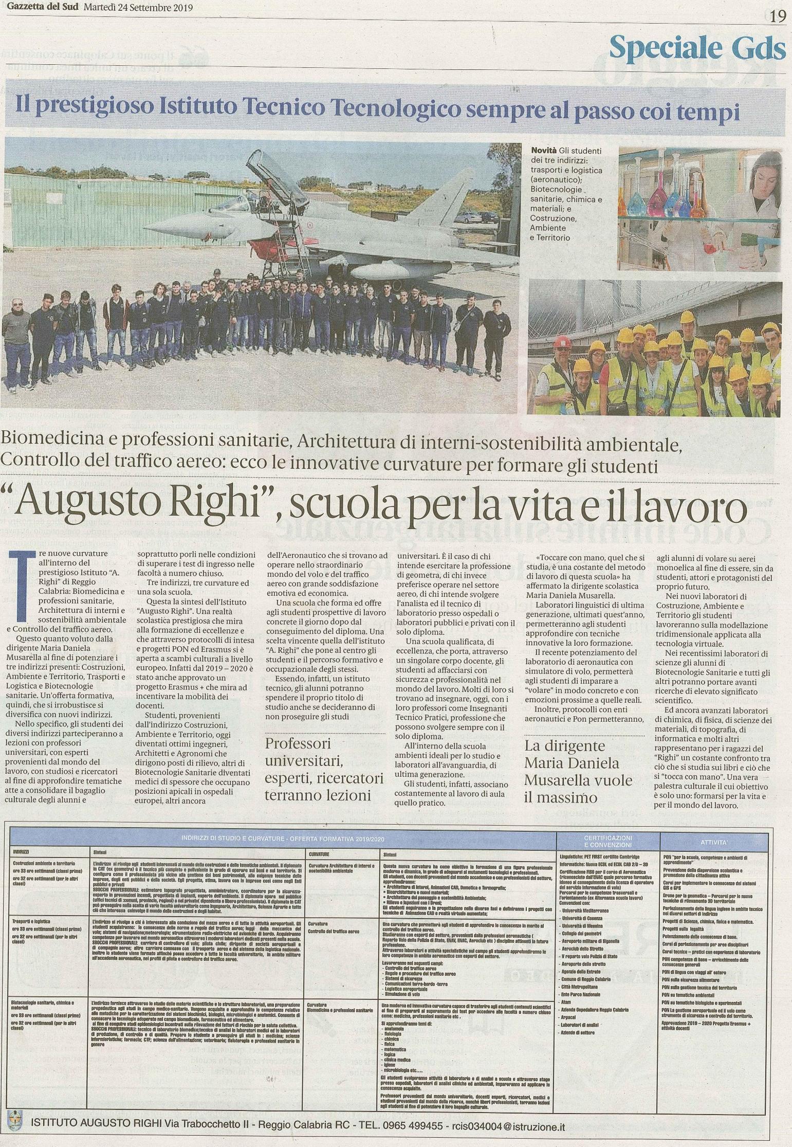 """""""Augusto Righi"""", scuola per la vita e il lavoro"""